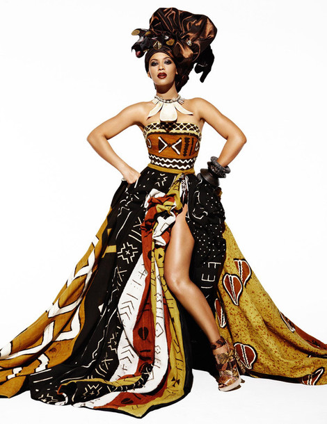 beyonce-beautiful-african-brown-black-white-pattern-tribal-pattern-long-prom-dresses