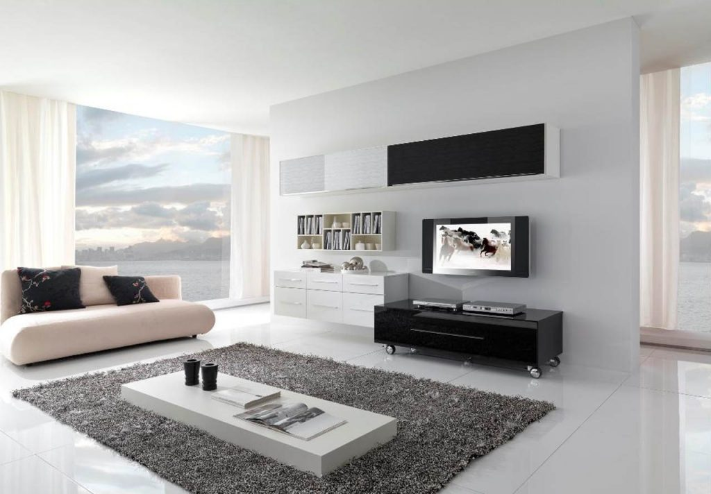 extraordinary-modern-minimalist-living-room-with-cream-couch-and-white-table-on-top-of-fur-rug-also-black-wheeled-sideboard-with-flat-tv-and-dvd-player-plus-white-book-shelf